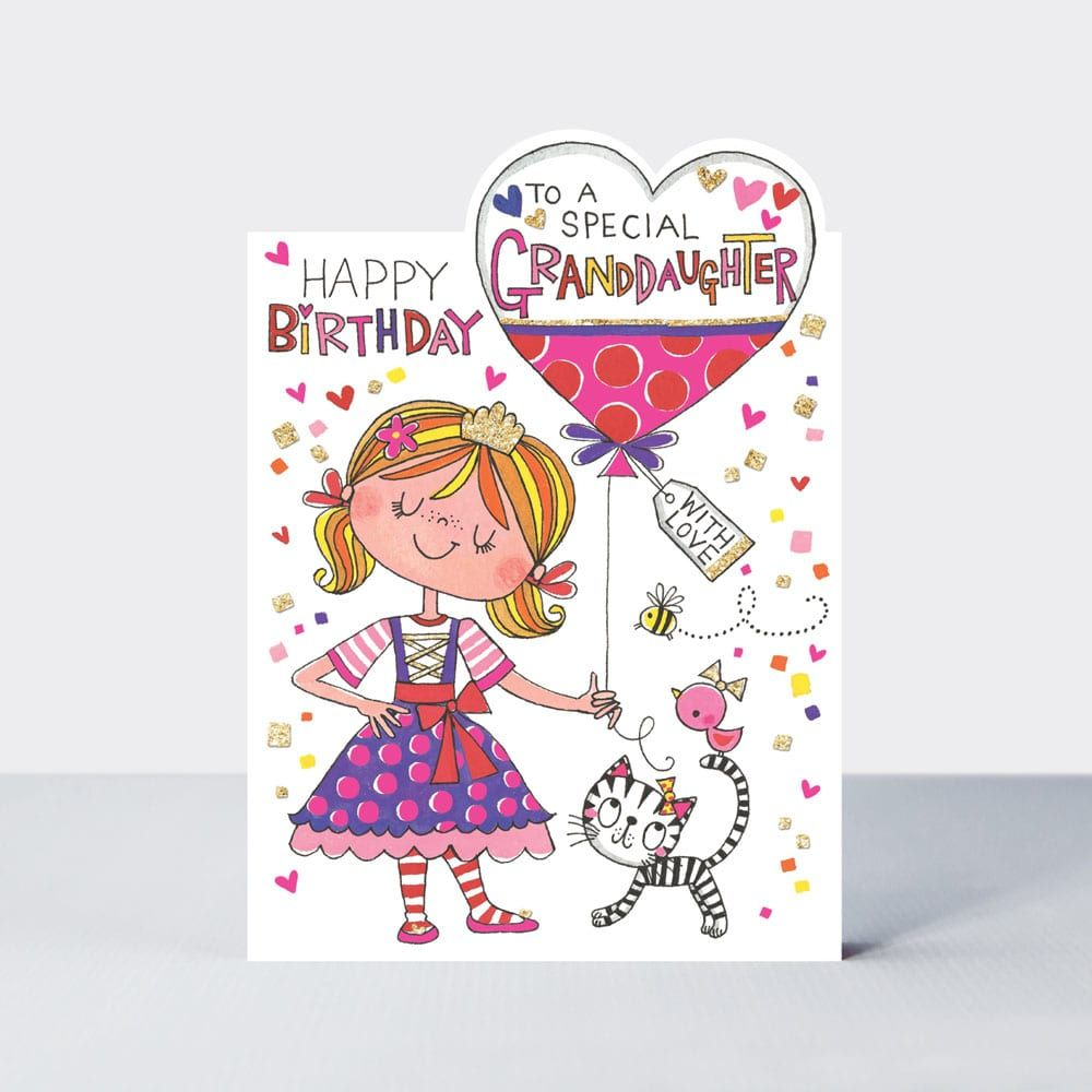 To A Special Granddaughter Birthday Card - HAPPY Birthday WITH LOVE - Grand