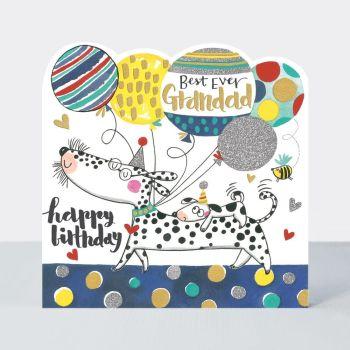 Best Ever Grandad Birthday Card - GRANDAD Birthday CARDS - Happy BIRTHDAY Grandad - BIRTHDAY Cards - BEAUTIFUL Sparkly Grandad BIRTHDAY Cards