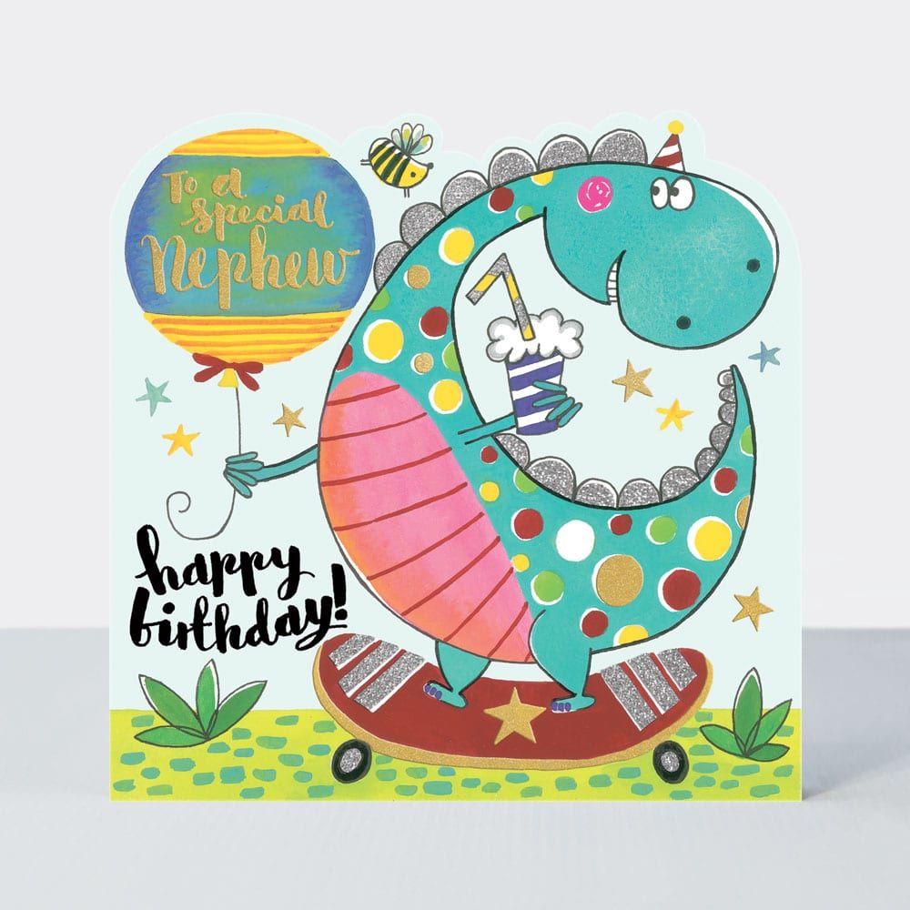 To A Special Nephew Birthday Card - HAPPY BIRTHDAY - Sparkly DINOSAUR & Ska