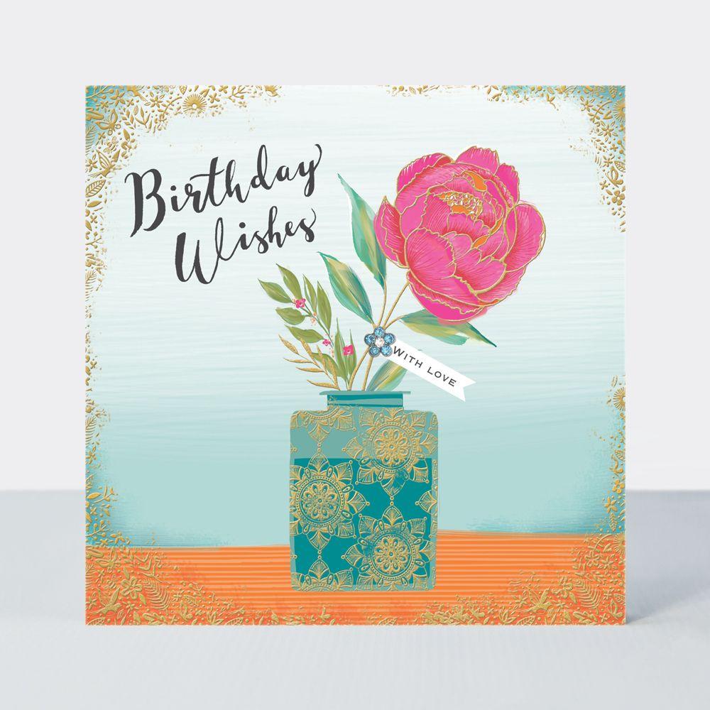 With Love Birthday Card - BIRTHDAY Wishes - STUNNING Gem EMBELLISHED Birthd