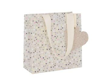 Pretty Hearts Gift Bag - Small CELEBRATORY Gift BAG - GIFT Bags - PREMIUM Gift BAGS - Beautiful SPARKLY Small GIFT BAG - Birthdays - WEDDINGS
