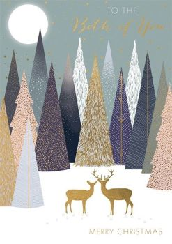 Couples Christmas Cards - To The BOTH Of YOU - MERRY Christmas - GOLD Deers IN The FOREST - Christmas CARDS For COUPLES - Christmas CARDS
