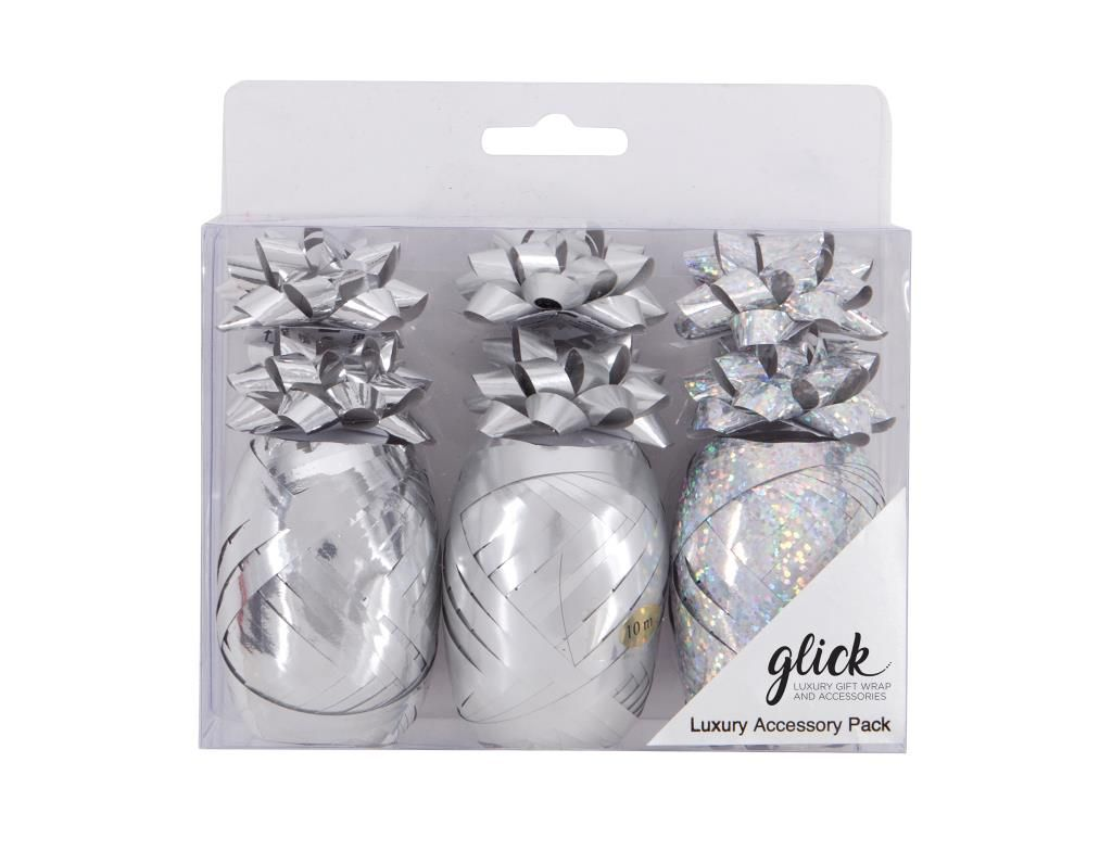 Silver Gift Wrap Accessory Pack - Pack OF 9 - Present WRAPPING Accessories