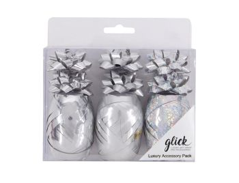 Silver Gift Wrap Accessory Pack - Pack OF 9 - Present WRAPPING Accessories - CHRISTMAS Wrapping ACCESSORIES - Curling RIBBON & Mini BOWS GIFT Wrap SET