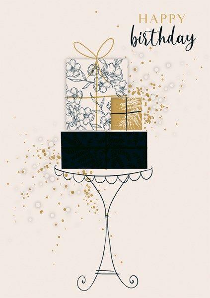Birthday Cards - HAPPY BIRTHDAY - PRESENTS On A Table BIRTHDAY Card - PRETT