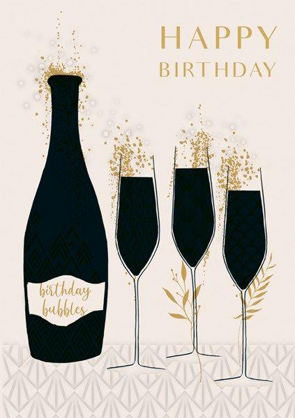 Champagne Birthday Cards - HAPPY BIRTHDAY - Art DECO Style BIRTHDAY Card -
