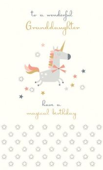 Childrens Birthday Cards - HAVE A Magical BIRTHDAY - Granddaughter BIRTHDAY Cards - UNICORN Birthday CARDS - Wonderful GRANDDAUGHTER Birthday CARDS