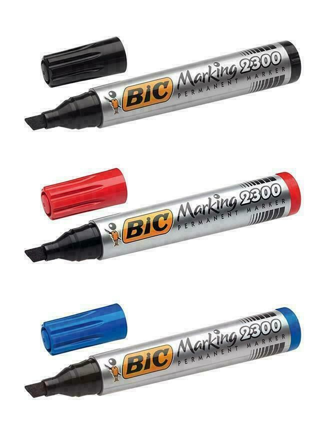 Permanent Marker Pens - BIC BLUE Permanent MARKER PEN -  CHISEL TIP - Marke