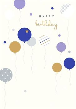 BIRTHDAY Cards For HIM - HAPPY Birthday - STYLISH Birthday CARDS For MEN - Balloons BIRTHDAY Cards - Birthday CARDS For FRIEND - Colleague - NEPHEW