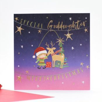 Goddaughter Christmas Cards - CHRISTMAS Cards For KIDS - MERRY Christmas - SPECIAL Goddaughter CHRISTMAS Cards - CUTE Reindeer  Xmas CARD