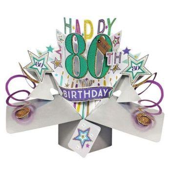 80th Birthday Cards For Him - POP UP Birthday Cards - 3D POP UP Birthday CARDS - Happy 80th BIRTHDAY - Birthday Card For DAD - Grandad - HUSBAND