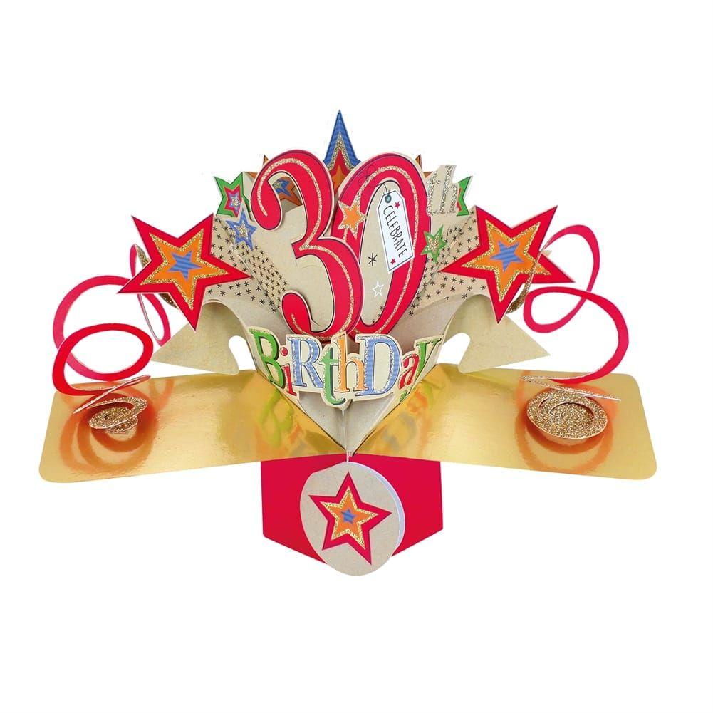 30th Birthday Cards - POP UP Birthday Cards - 3D POP UP Birthday CARDS