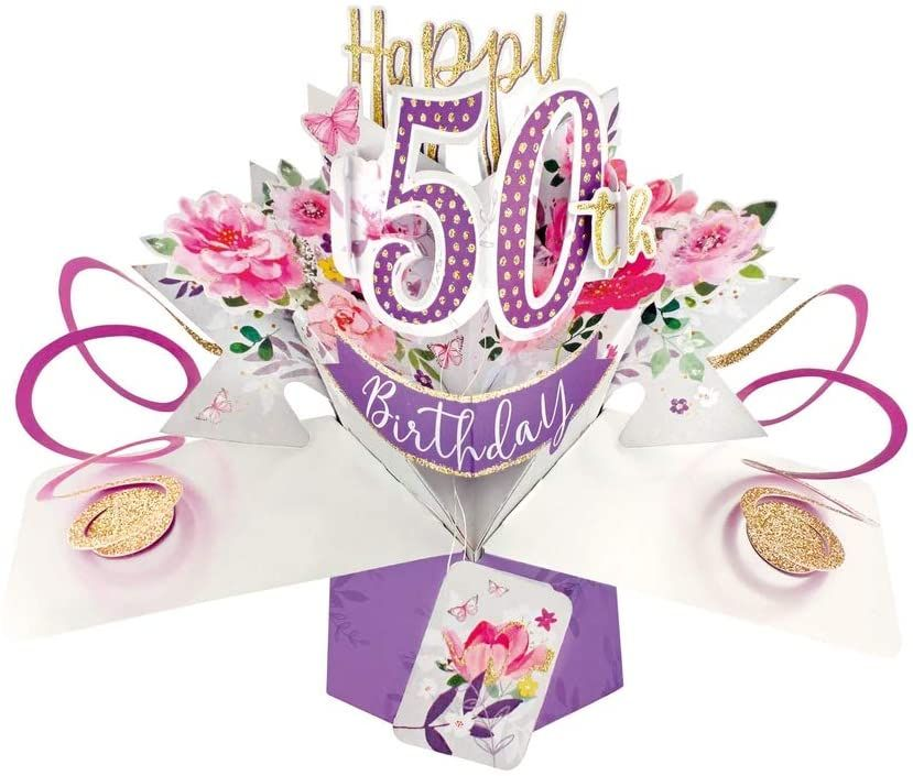 50th Birthday Cards For Her - POP UP Birthday Cards - 3D POP UP Birthday CA