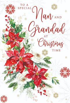 Christmas Cards For Grandparents - To A SPECIAL Nan & GRANDAD - Festive POINSETTA Christmas CARD - Granny & GRANDAD CHRISTMAS Cards