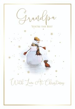 Christmas Cards For Grandpa - SENT With LOVE At CHRISTMAS - FUN Snowman CHRISTMAS Card - CHRISTMAS Cards For GRANDPARENTS - Best GRANDPA Xmas Card