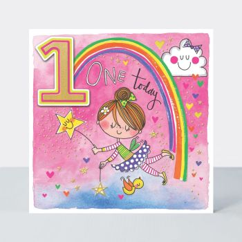 1st Birthday Cards - ONE TODAY - FAIRY & Rainbow BIRTHDAY Card - COLOURFUL 1st BIRTHDAY Card - 1st BIRTHDAY Card FOR Daughter - GRANDDAUGHTER - Niece