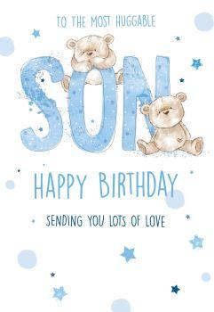 To The Most Huggable Son Birthday Card - CHILDRENS Birthday CARDS - Birthday CARDS For Son - CUTE Teddies BIRTHDAY Card