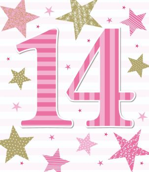 14th Birthday Cards - 14 BIRTHDAY Card GIRL - Age 14 BIRTHDAY Card - PRETTY Pink BIRTHDAY Card - 14th BIRTHDAY CARD For Niece - COUSIN - Daughter