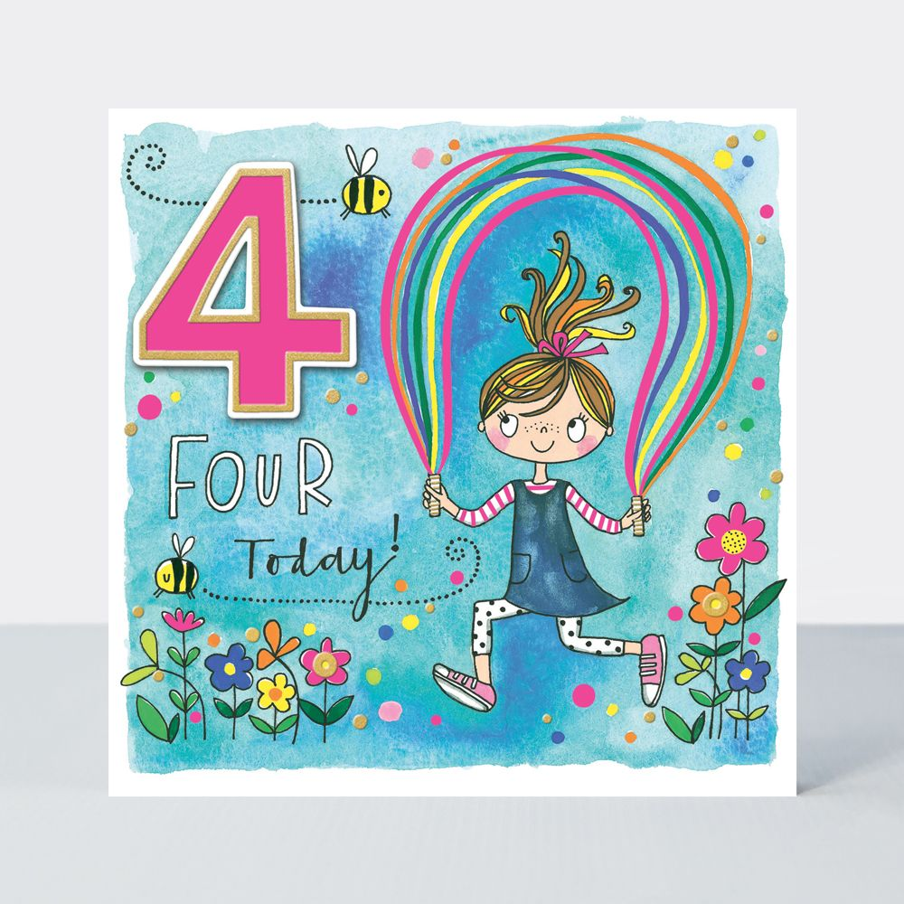 4th Birthday Cards - FOUR TODAY - GIRL & Skipping ROPE BIRTHDAY Card - 4th