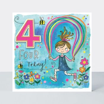 4th Birthday Cards - FOUR TODAY - GIRL & Skipping ROPE BIRTHDAY Card - 4th BIRTHDAY Card FOR Daughter - GRANDDAUGHTER - Sister