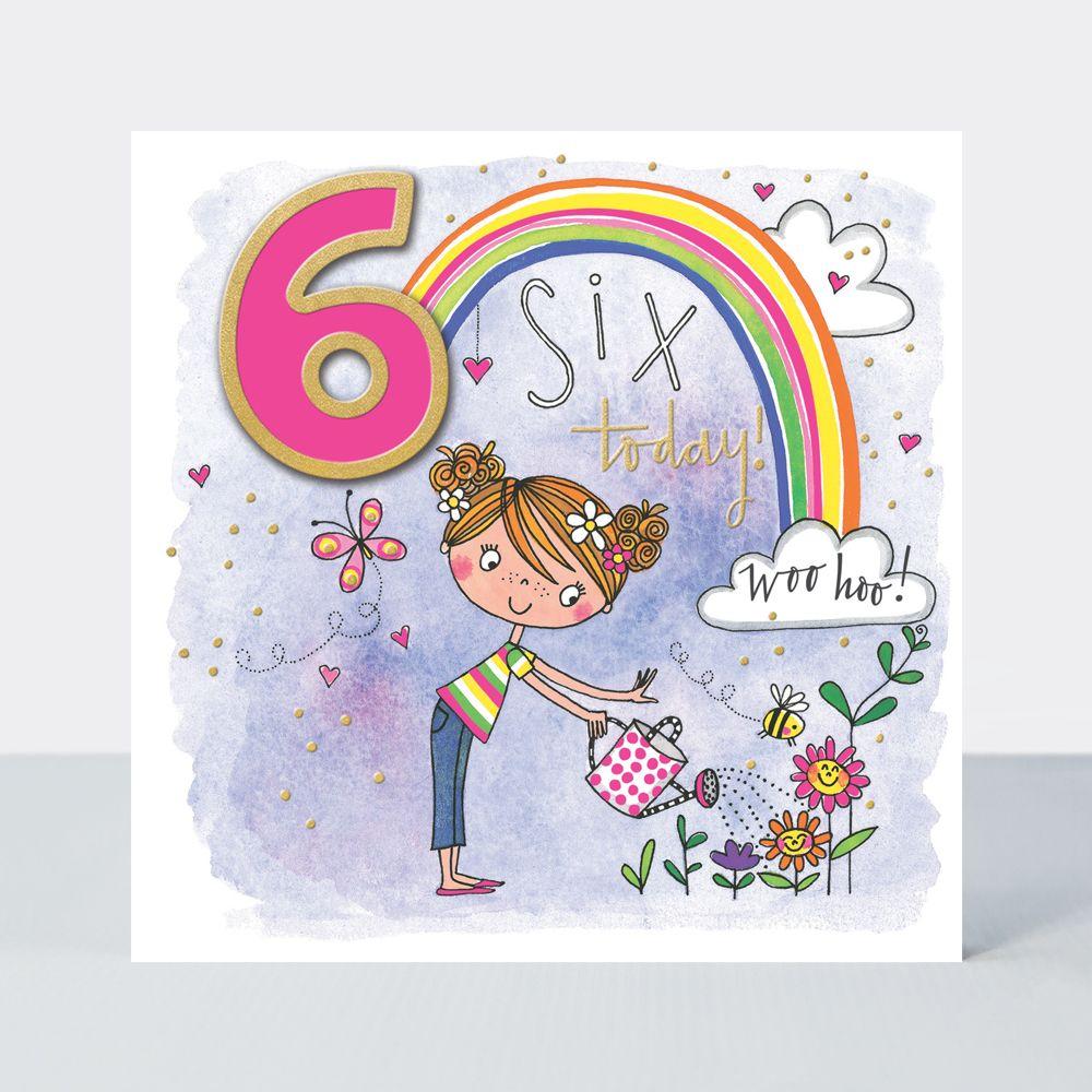 6th Birthday Cards - 6 TODAY WOO Hoo - GIRL Watering PLANTS BIRTHDAY Card -