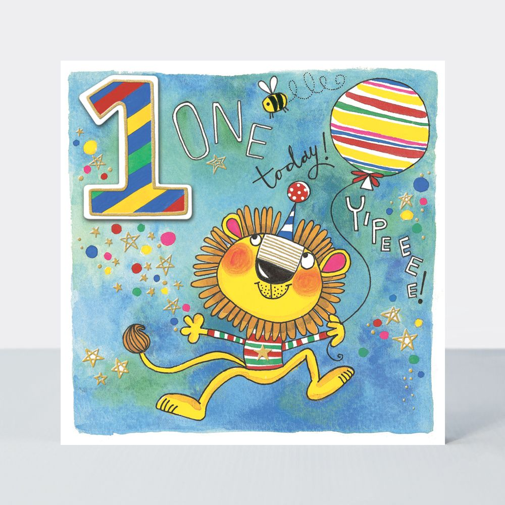 1st Birthday Cards - 1 TODAY YIPEEEE - LION With BALLOON BIRTHDAY Card - 1s