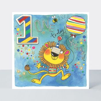 1st Birthday Cards - 1 TODAY YIPEEEE - LION With BALLOON BIRTHDAY Card - 1st BIRTHDAY Card FOR Grandson - BROTHER - Nephew - COUSIN