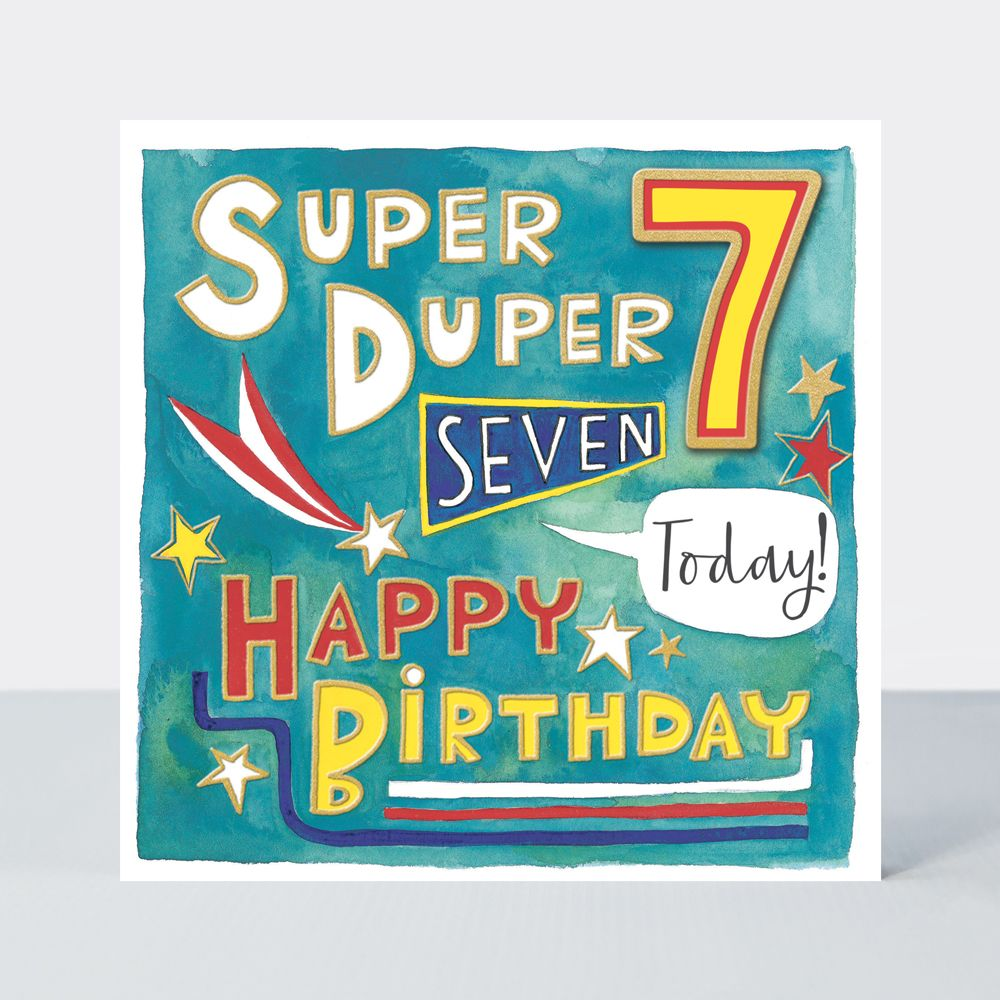 7th Birthday Cards - SUPER DUPER 7 Today - HAPPY BIRTHDAY Card - 7th BIRTHD