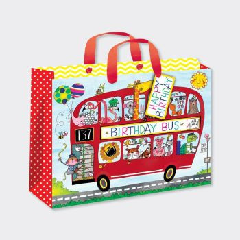 Large Luxury Gift Bag - CHILDREN'S Gift Wrap - BIRTHDAY Bus GIFT Bag - GIFT BAGS ‐ Birthday BOY Gift Bag - Boys LARGE Birthday Gift BAG