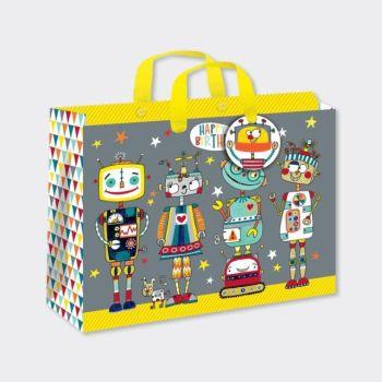 Large Luxury Gift Bag - CHILDREN'S Gift Wrap - ROBOTS GIFT Bag - GIFT BAGS ‐ Birthday BOY Gift Bag - Fun HAPPY Birthday LARGE Landscape GIFT Bag