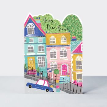 Colourful New Home Greeting Cards - HAPPY New HOME - New HOME Cards - MOVING Home CARDS ONLINE - New HOUSE Cards - FUN Moving HOUSE Card
