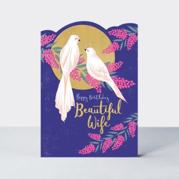 Beautiful Wife Birthday Card - HAPPY BIRTHDAY - Wife BIRTHDAY Cards - BIRDS On A BRANCH Birthday CARD - STUNNING Gold FOIL Birthday CARD For WIFE