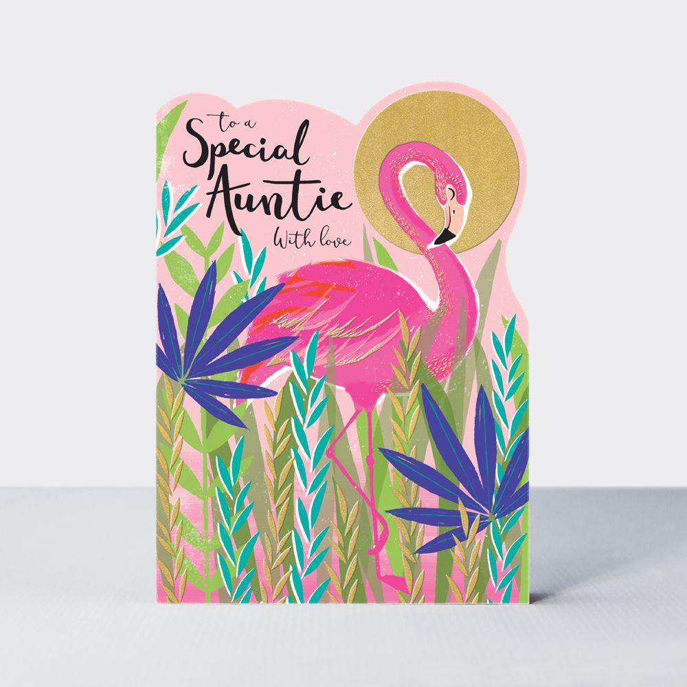 Special Auntie Birthday Card - WITH LOVE - Flamingo BIRTHDAY Card - BIRTHDA