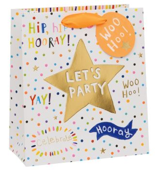 Let's Party Gift Bag - Medium BIRTHDAY Gift BAG - Party GIFT Bags - GIFT Bags - PREMIUM Gift BAGS - Gorgeous ORANGE & Gold FOIL Medium GIFT BAG