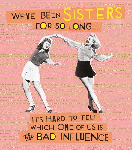 Funny Birthday Card For Her - BAD INFLUENCE Birthday CARD - Retro STYLE Bir