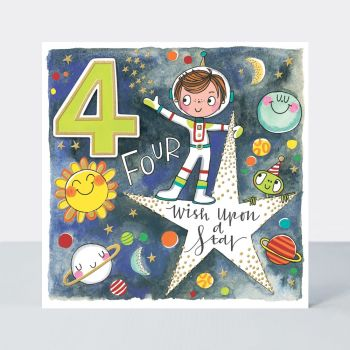 4th Birthday Cards - WISH Upon A STAR - Astronaut ON STAR BIRTHDAY Card - 4th BIRTHDAY Card FOR - SON - Grandson - STEPSON - Nephew - COUSIN