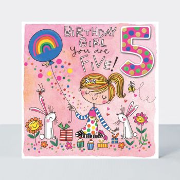 5th Birthday Cards - BIRTHDAY Girl YOU Are FIVE - GIRL With RABBITS & Balloon BIRTHDAY Card - 5th BIRTHDAY Card FOR - Daughter - GRANDDAUGHTER