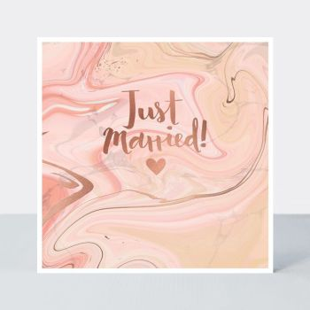 Wedding Cards - JUST MARRIED - Blushed ROSE Wedding DAY Card - BEAUTIFUL Wedding CARD - Engagement & WEDDING Cards