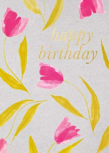 Beautiful Birthday Card For Her - HAPPY BIRTHDAY - Pink & GOLD Floral BIRTH