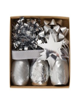 Silver Gift Wrap Accessory Pack - Pack OF 9 - Present WRAPPING Accessories - CHRISTMAS Wrapping ACCESSORIES - SILVER Gift WRAP - Christmas GIFT Wrap