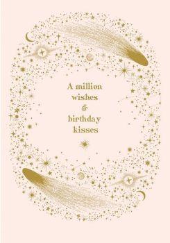 Celestial Birthday Cards For Her - A MILLION Wishes & BIRTHDAY Kisses - MYSTIC & Magical BIRTHDAY Card - Pretty BIRTHDAY Cards FOR Her