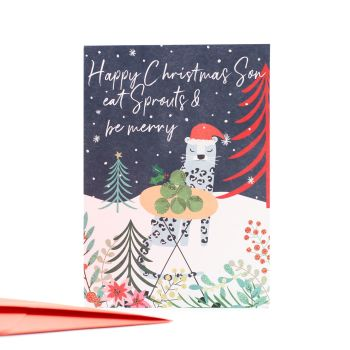 Eat Sprouts & Be Merry -  FUNNY Christmas CARD For SON - Happy Christmas Son Card - CHRISTMAS Cards FOR Son - SPARKLY Leopard & SPROUTS Xmas CARD