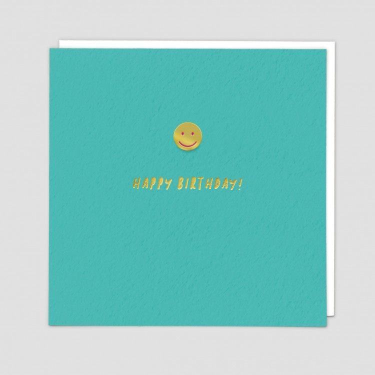 Happy Birthday Card - HAPPY BIRTHDAY - Enamel PIN Birthday CARD - Smiley FA