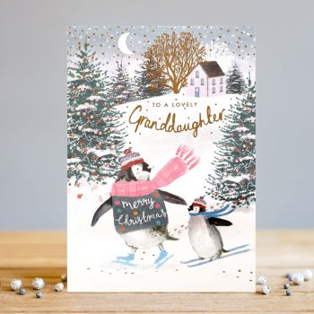 Granddaughter Christmas Cards - To A LOVELY Granddaughter - PENGUIN Christmas CARDS - CHRISTMAS Cards - CHRISTMAS Cards For GRANDDAUGHTER