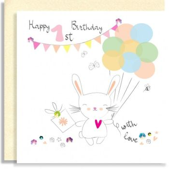 1st Birthday Cards - HAPPY 1st BIRTHDAY With LOVE - Birthday GIRL - 1st BIRTHDAY - Embellished 1st Birthday CARD For DAUGHTER - Granddaughter - NIECE