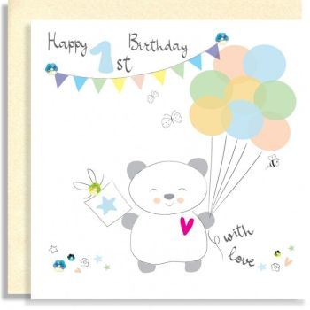 1st Birthday Cards - HAPPY 1st BIRTHDAY With LOVE - Birthday BOY - 1st BIRTHDAY - Embellished 1st Birthday CARD For SON - Grandson - NEPHEW - Brother