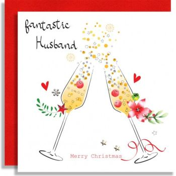 Fantastic Husband Christmas Card - MERRY Christmas - Xmas CHAMPAGNE CARDS - Christmas CARDS For HUSBAND - EMBELLISHED CHRISTMAS Cards