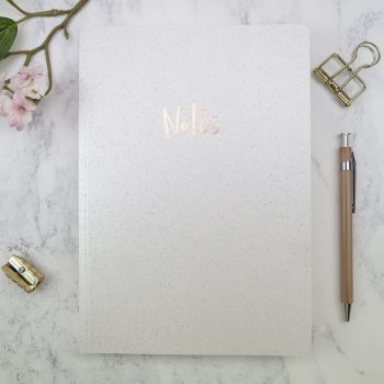 Sparkly Notebooks - A5 NOTEBOOKS - WHITE Notebook - NOTEBOOK A5 - STATIONERY - A5 Notebook LINED - Gorgeous GIRLY Notebook - GIFTS For HER