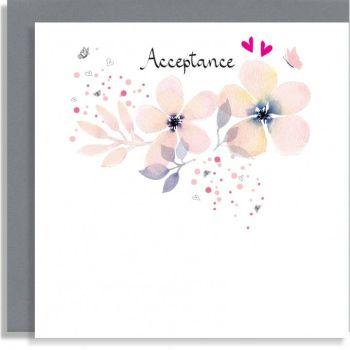 Pretty Floral Acceptance Card - Wedding ACCEPTANCE Card - HAND Finished ACCEPTANCE Cards - ACCEPTANCE Cards -