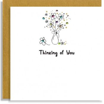 Thinking Of You Card - FLOWERS In A VASE Card - HAND Embellished GREETING Card - Thinking OF YOU CARDS -  SYMPATHY - Friendship CARDS
